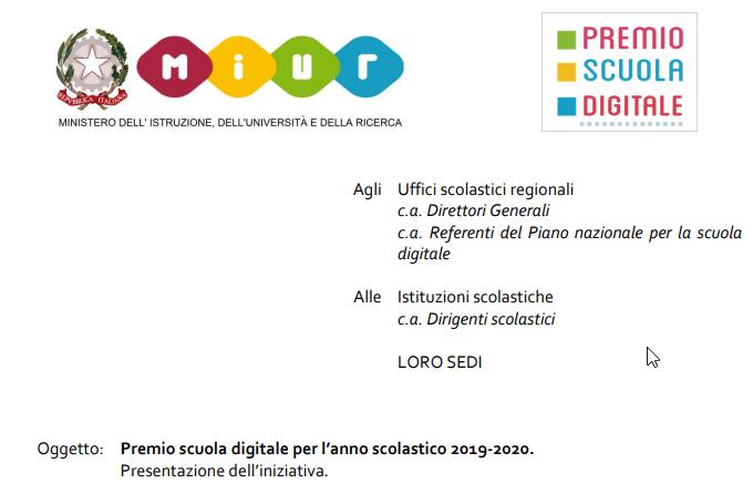 Dal MIUR il premio Scuola Digitale