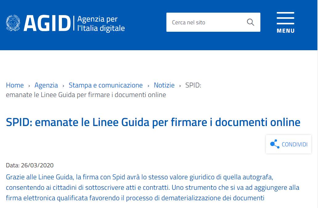 Firma con SPID come quella autografa: arrivano le linee guida AGID